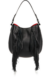 Christian Louboutin Luckyl fringed textured-leather shoulder bag