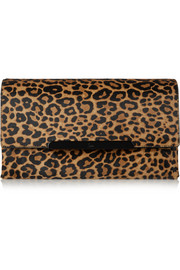 Rougissime medium leopard-print calf hair clutch
