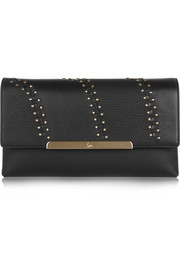 Rougissime studded textured-leather clutch