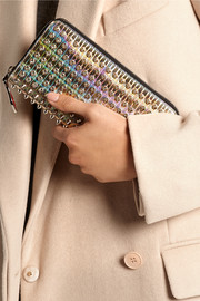 Panettone spiked iridescent leather continental wallet