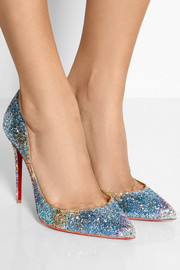 Christian Louboutin Pigalle Follies 100 glitter-finished leather pumps