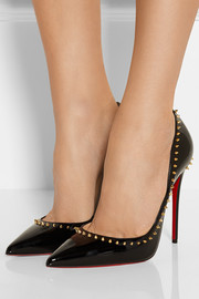 Anjalina 120 studded patent-leather pumps