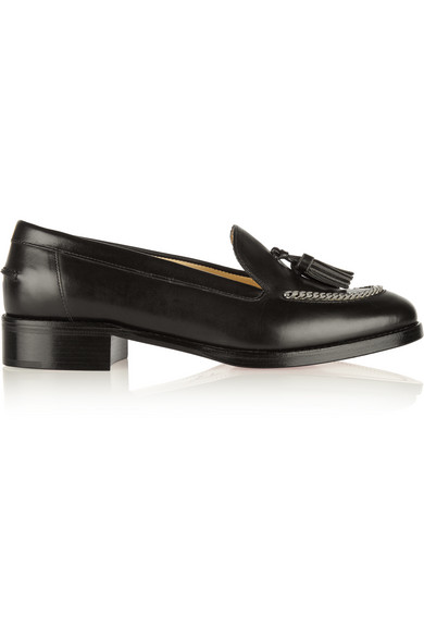 Christian Louboutin - Monaliso Chain-embellished Leather Loafers - Black