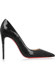 Kristali 100 metallic laser-cut suede and patent-leather pumps