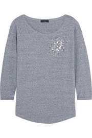 Embellished cotton-blend jersey top