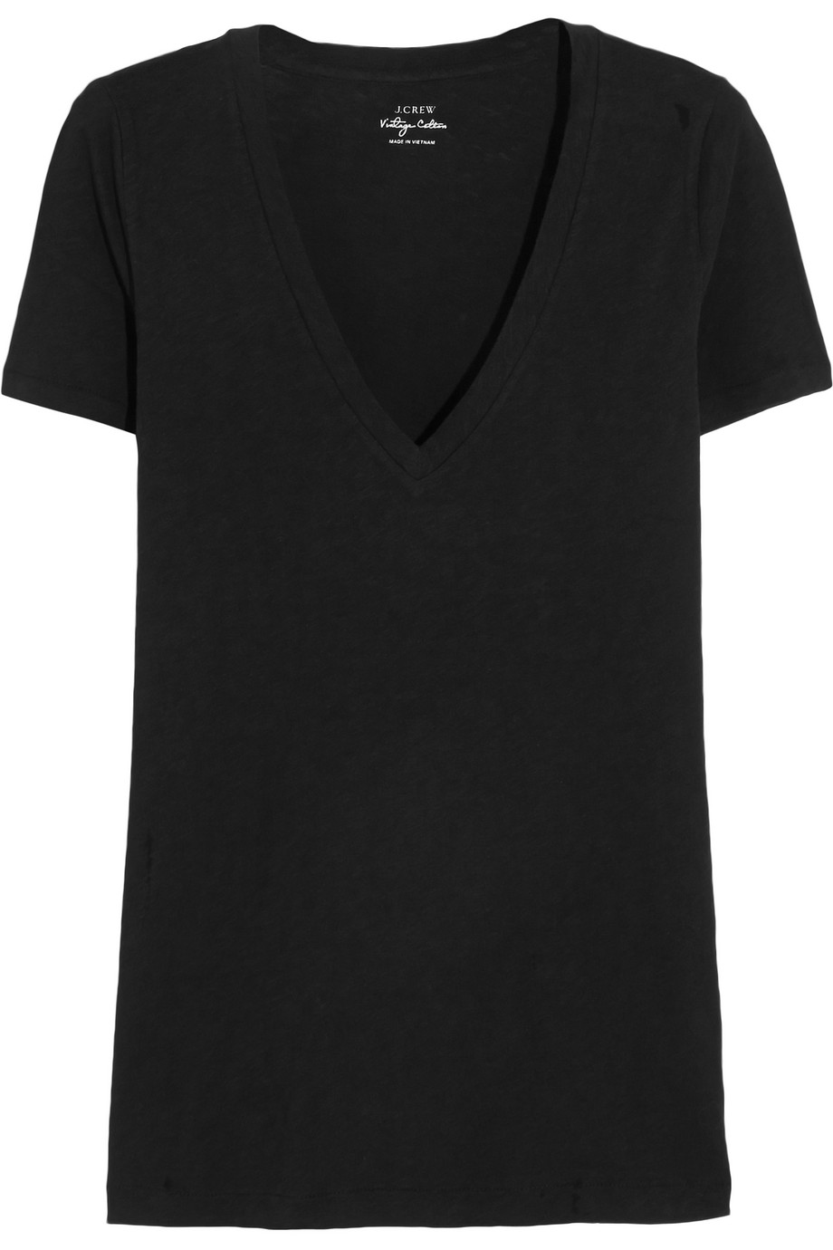 J.Crew Vintage Cotton-Jersey T-Shirt, Black, Women's, Size: XL