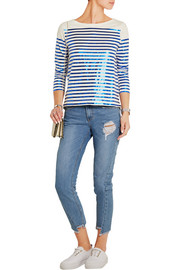 Boathouse metallic striped slub cotton-jersey top