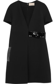 Patent leather-trimmed crepe dress