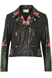 Floral-embroidered leather biker jacket