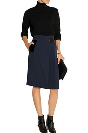Patent leather-trimmed cady skirt