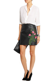 Floral-embroidered leather mini skirt