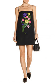 Floral-appliquéd and embroidered crepe mini dress