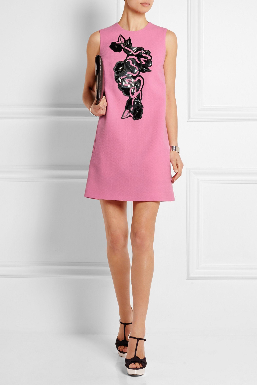 Christopher Kane Leather-embellished wool-crepe mini dress