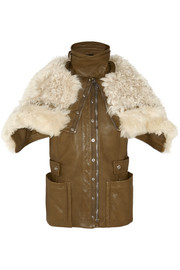 Shearling and leather biker vest