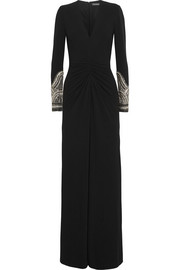 Embellished stretch-crepe gown