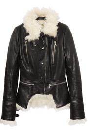Shearling and leather biker jacket