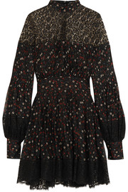 Alexander McQueen Lace-paneled floral-print silk mini dress