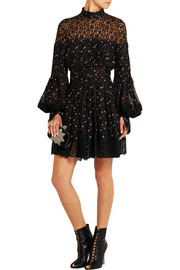Lace-paneled floral-print silk mini dress