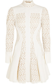 Alexander McQueen Matelassé and broderie anglaise mini dress