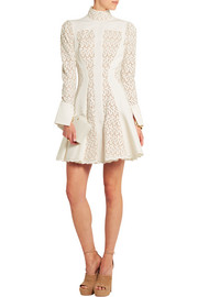Matelassé and broderie anglaise mini dress