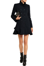 Ruffled wool-blend coat