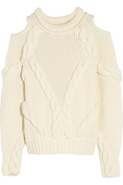 Cutout cable-knit wool sweater