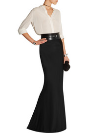Flared satin maxi skirt