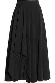 Draped stretch-crepe midi skirt