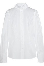 Pleated cotton-poplin shirt