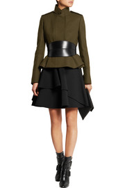 Ruffled wool-blend scuba mini skirt