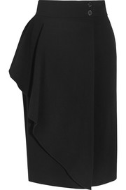 Draped stretch-crepe wrap skirt
