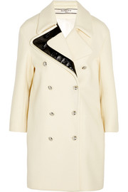 Faux patent leather-trimmed wool coat