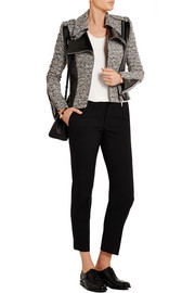 Wool-blend tweed and faux patent-leather jacket