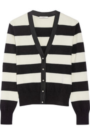 Grosgrain-trimmed striped wool-blend cardigan