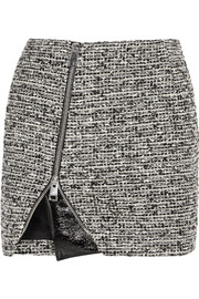 Bouchra Jarrar Wool-blend tweed and faux patent-leather mini skirt