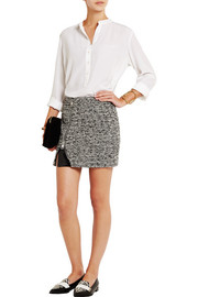 Wool-blend tweed and faux patent-leather mini skirt