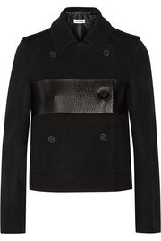 Cropped leather-paneled wool peacoat