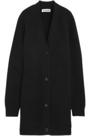 Jil Sander Ribbed-knit wool and cashmere-blend cardigan