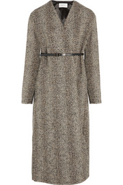 Belted wool-blend tweed coat