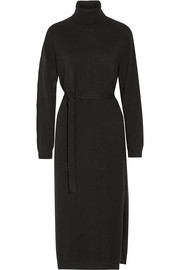 Belted cashmere turtleneck midi dress