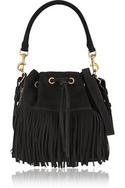Emmanuelle medium fringed suede bucket bag