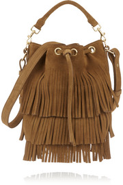 Emmanuelle small fringed suede bucket bag