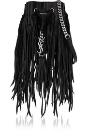 Saint Laurent Monogramme Bourse mini fringed leather bucket bag
