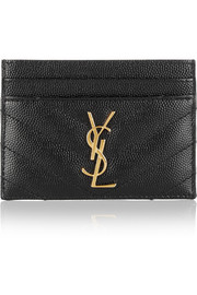 Monogramme quilted textured-leather cardholder