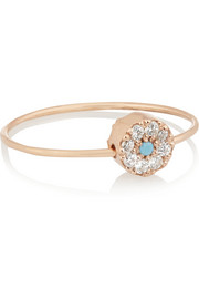 Little Eye Bead 10-karat rose gold, turquoise and cubic zirconia ring