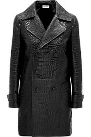 Croc-effect leather coat