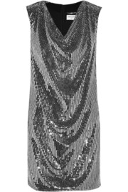 Saint Laurent Draped sequined silk-georgette dress