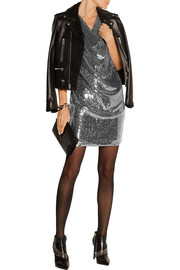 Draped sequined silk-georgette dress