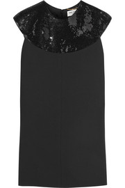 Saint Laurent Sequin-embellished wool-crepe mini dress