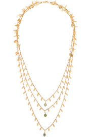 Eye Leaf gold-plated cubic zirconia necklace